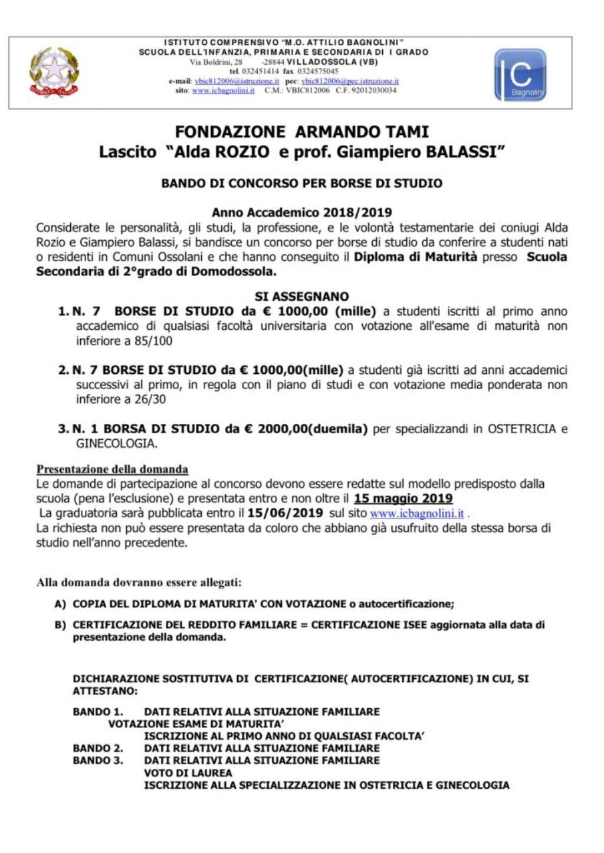Bando Balassi Fronte - 2018